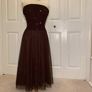 Sparkly chocolate strapless gown